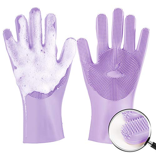 Silicone Dishwashing Gloves, meidong Reusable Dish Gloves Cleaning Brush Heat Resistant with Sponge Scrubbers for Kitchen, Housework, Bathroom, Bathing, Car Washing (Purple)