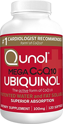 Qunol Mega Ubiquinol CoQ10 100mg, Superior Absorption, Patented Water and Fat Soluble Natural Supplement Form of Coenzyme Q10, Antioxidant for Heart Health, 120 Count Softgels