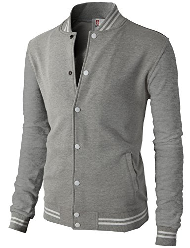 H2H Mens Slim Fit Varsity Baseball Bomber Cotton Lightweight Premium Jacket Cmoja083-heathergray Medium