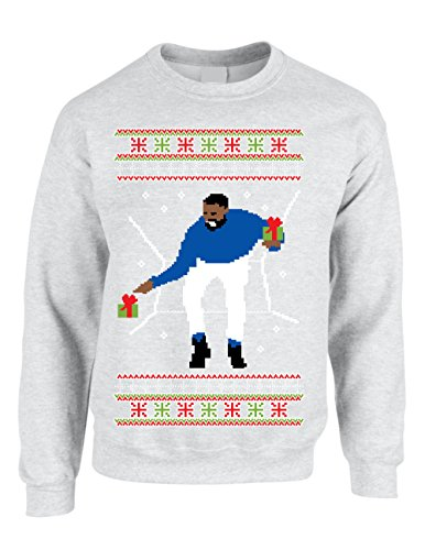 Allntrends Adult Crewneck 1-800 Hotline Bling Ugly Christmas Sweater (3XL, Ash)
