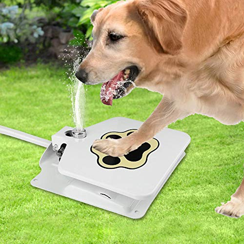Joeoy Outdoor Dog Water Fountain, Pedal Pressure Step On Easy Paw Activated Fresh Water Dispenser, Stay Cool in Summer, Easy to Use