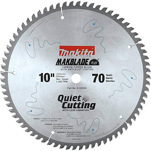 Makita A-93550 MakBlade 10-Inch 70 Tooth ATB Quiet Crosscutting Saw Blade with 5/8-Inch Arbor