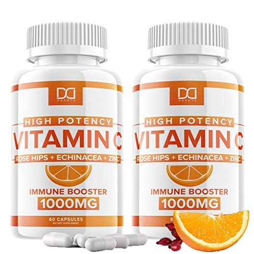 (120 Pills) Vitamin C 1000mg Capsules Supplement with Zinc, Echinacea, Rose Hips for Immune Support for Adults Kids - Vit C Pills Immunity System Booster Defense, High Absorption -Gluten Free (2 Pack)