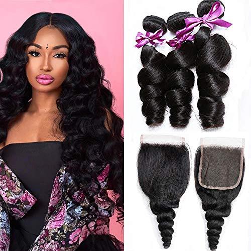 Perstar Brazilian Virgin Hair Loose Wave Bundles With Closure Unprocessed Human Hair Bundles With 4'4' Lace Closure 8A Virgin Human Hair Weave Brazilian Loose Wave Bundles with Closure 20 22 24+18'