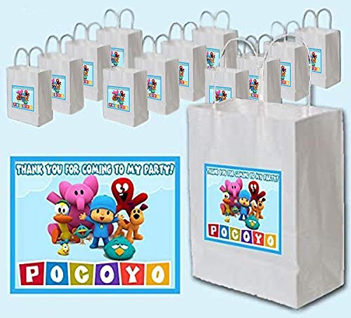 Pocoyo Party Favors Supplies Decorations Gift Bag Label Stickers ONLY 4.25' x 3.67' -12 pcs