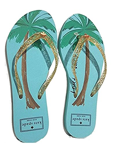 Kate Spade Nassau Gold Glitter 'I Need A Vacation' Flip Flop, Size 6