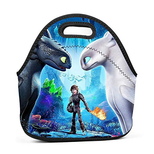 Toothless Dragon Neoprene Lunch Bag, Liacafa Thick Reusable Insulated Thermal Lunch Tote School Picnic Carry Case Handbags Tote, Lunch Bags for Boys Girls Women Men Students