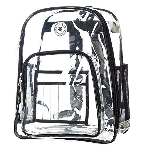 Heavy Duty Clear Backpack See Through PVC Stadium Security Transparent Workbag   Black