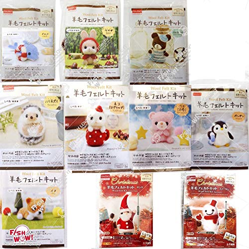 Daiso Japan Set of 10 Wool Needle Felt DIY Aminal Kits - Cat, Dog, Penguin, Rabbit, Pink Bear, Dolphin, Bear, Snowman, Santa