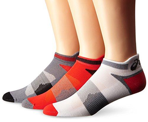 ASICS Unisex Quick Lyte Cushion Single Tab Socks (3 Pairs), Cone Orange Assorted, Large