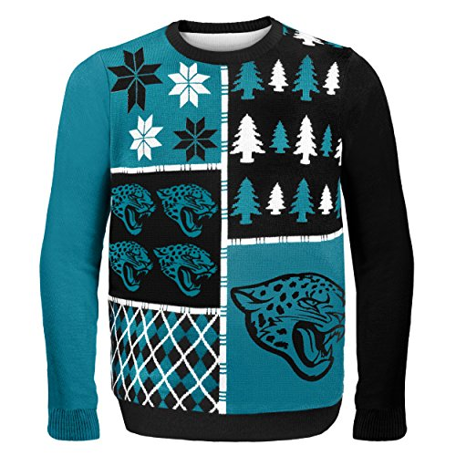NFL Jacksonville Jaguars BUSY BLOCK Ugly Sweater, Large
