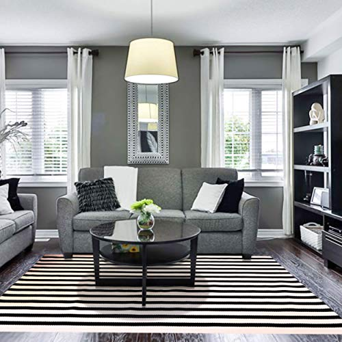 Striped Outdoor Rug 4x6 - Black and Cream Rug, 4x6 Area Rug, Striped Indoor Outdoor Rug 4x6, Off White Rug, Farmhouse Rugs, Washable Rugs 4x6 Cotton Rug, Rugs for Living Room, Cotton Area Rug 4x6