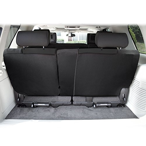 FH Group FB039013BLACK Multifunctional Cloth Split Bench Car Seat Cover (Full Coverage Car Bench Cover- Backrest is Covered on All Sides)