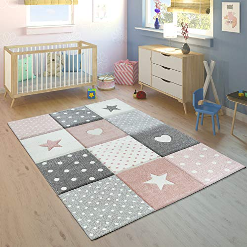 Children's Rug Pastel Colours Checked Dots Hearts Stars White Grey Pink, Size:140x200 cm