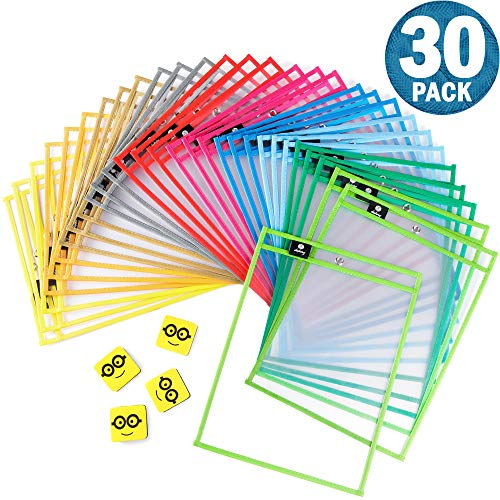 Dry Erase Pockets Reusable Sleeves - 30 Pack, Heavy Duty Oversized 10x14' Clear Plastic Sheet Paper Protectors, 10 Assorted Colors, Teacher Supplies for Classroom, School & Homeschool Organization