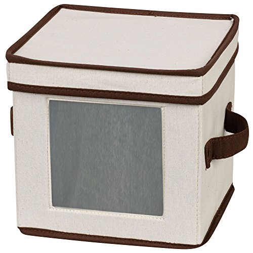 Household Essentials 534 Dinnerware Storage Box with Lid and Handles | Chest for Salad Plates | Natural Canvas with Brown Trim