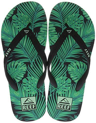 Reef Men's Seaside Prints Sandal, Green Palm, 12