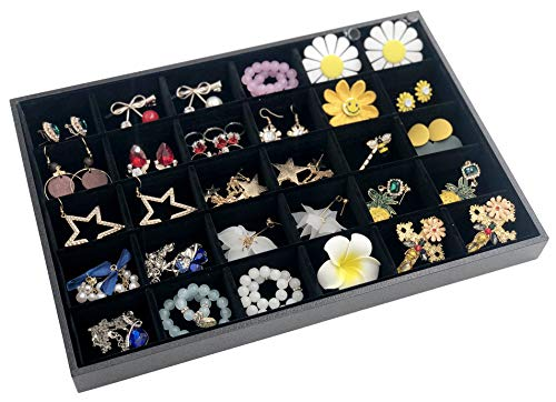 Outdoorfly Velvet Stackable 30 Grid Jewelry Organizer Tray Removable Storage Earrings Rings Necklace Bracelet Showcase for Drawer (30 Grid)