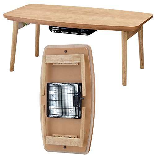 AZUMAYA ELFI-901OAK Folding Legs Kotatsu Heater Table, W36.0 x D20.0 x H14.5 Inches, Natural Wooden Material, Home and Living, Natural OAK Wooden Color