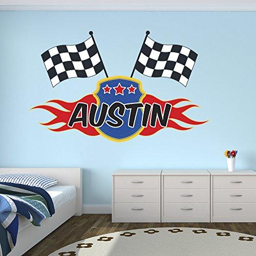 Lovely Decals World LLC Custom Racing Flags Name Wall Decal for Boys Race Nursery Baby Room Mural Art Decor Vinyl Sticker LD06 (16' W x 10' H)