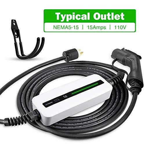 Morec 15A EV Charger Level 1-2 NEMA5-15P ev Charging Cable 100V-120V Portable EVSE SAE J1772 Plug Home Electric Vehicle Charging Station Compatible with All EV Cars 7.5m (24 feet)