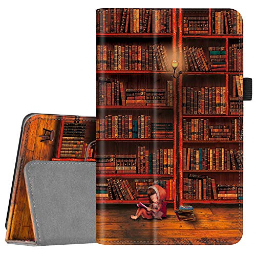Fintie Folio Case for All-New Amazon Fire 7 Tablet (9th Generation, 2019 Release) - Slim Fit PU Leather Standing Protective Cover with Auto Wake/Sleep, Library