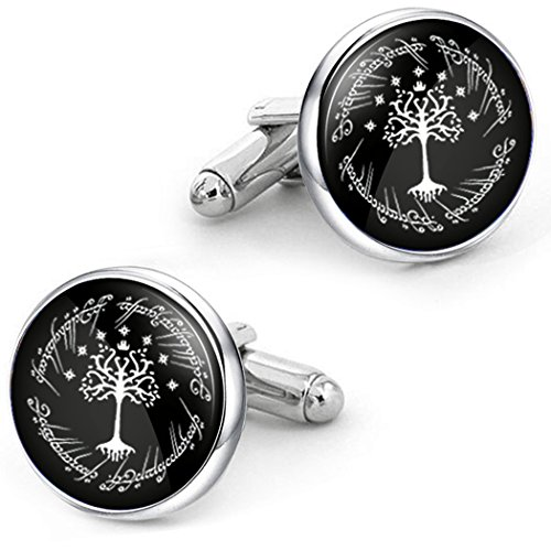 Kooer White Tree Cufflinks Personalized Tree of Life Wedding Christmas Cuff Links Gift For Men Father Dad Husband (Silver cuff links)