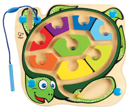 Award Winning Hape Totally Amazing Colorblock Sea Turtle Kid's Magnetic Wooden Bead Maze Puzzle