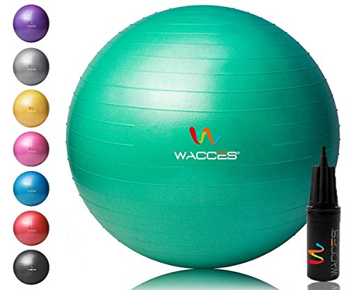 Wacces Yoga Ball with Hand Pump (Green, 65 cm)