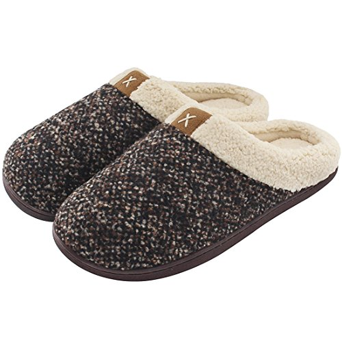 ULTRAIDEAS Men's Cozy Memory Foam Slippers with Fuzzy Plush Wool-Like Lining, Slip on Clog House Shoes with Indoor Outdoor Anti-Skid Rubber Sole(Brown,11-12)
