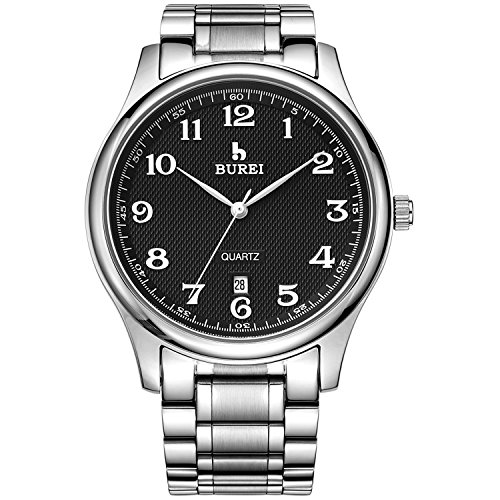 BUREI Men's Quartz Watch with Simple Arabic Numerals and Stainless Steel Strap (Black)