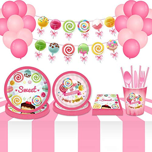 Anor Wishlife Candy Land Party Supplies Pack(16Guests), Candy Land Banner,Paper Plates,Cups,Napkins and Ballon(195PCS)