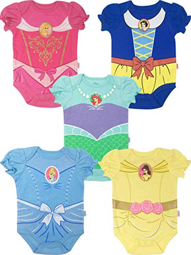 Disney Princess Baby Girls' 5 Pack Bodysuits Belle Cinderella Snow White Aurora, 18 Months
