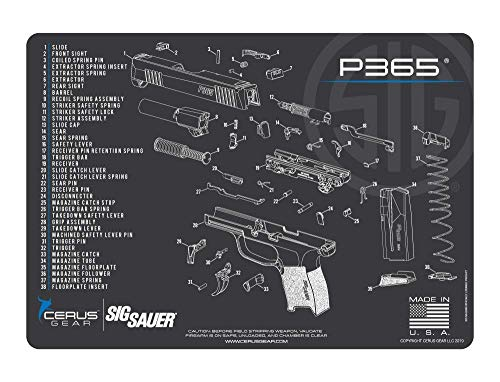 EDOG SIG P365 Cerus Gear Schematic (Exploded View) Heavy Duty Pistol Cleaning 12x17 Padded Gun-Work Surface Protector Mat Solvent & Oil Resistant