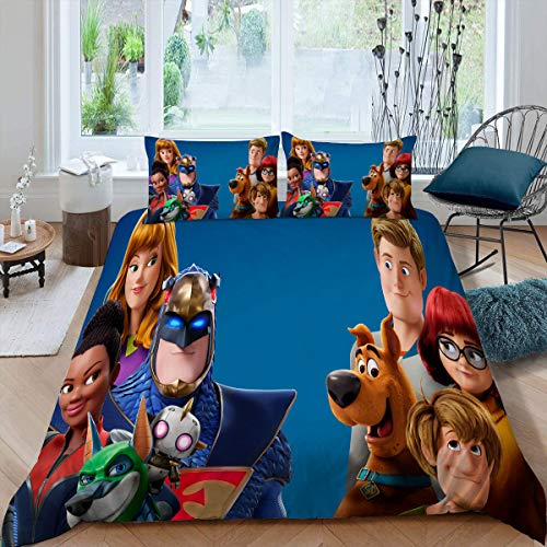 Comforter Bedding Set 3 Piece Set, Scoob Duvet Cover Set Duvet Cover + 2 Pillow Shams with Zipper Closure Ultra, Twin (68x88 inches) Movie Scooby Doo Poster