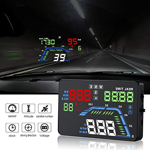 YICOTA Car HUD GPS Head Up Display 5.5' Colorful LED Dashboard Projector Speed Warning System Compatible with All Cars (Q7)