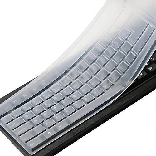 Clear Desktop Computer Keyboard Cover Skin for PC 104/107 Keys Standard Keyboard, Anti Dust Waterproof Keyboard Protective Skin