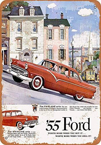 Lplpol Aluminum Metal Sign Fairlane Car Vintage Tin Sign Poster Plaque Sign Decor for Home Bar Diner Pub 8x12 Inch