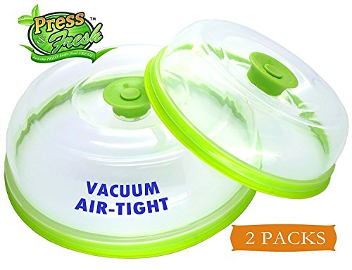 Press n Fresh Universal Vacuum Air-tight Food Sealer Container Plate Platter Lid Cover Topper Dome, Stackable, Dishwasher and BPA Free (9 & 7 inches, Green)
