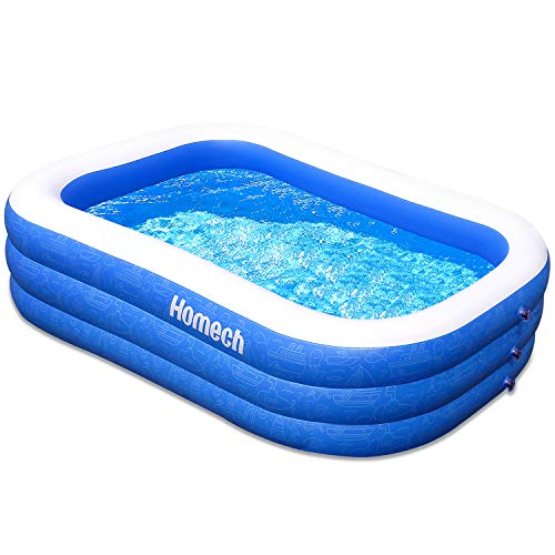 Homech Family Inflatable Swimming Pool, 93' X 55' X 23' Full-Sized Inflatable Lounge Pool for Baby, Kiddie, Kids, Adult, Infant, Toddlers for Ages 3+,Outdoor, Garden, Backyard, Summer Water Party