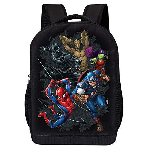 MARVEL COMICS RETRO LOGO BACKPACK - MARVEL BLACK RETRO LOGO 18 INCH AIR MESH PADDED BAG (Marvel Universe Team 2)