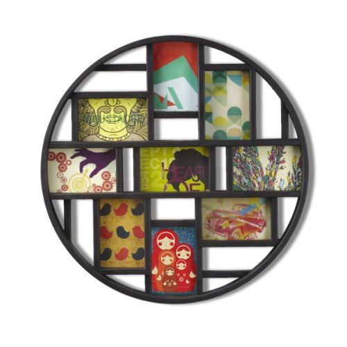 Umbra Luna Large 4x6 Picture Frame Collage and Wall Décor, 21.9 x 21.9 x 1.8, Black