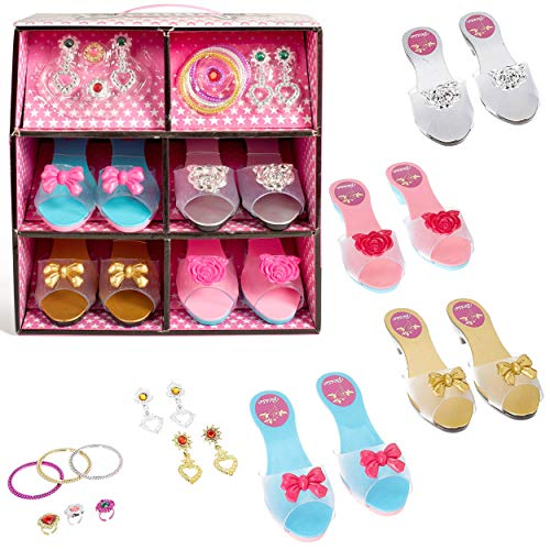 IQ Toys Princess Dress Up Play Shoes and Jewelry Boutique Set with 4 Pairs of Shoes and Pretend Jewelry Accessories for Little Girls