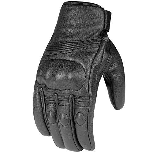 Premium Leather Men's Street Motorcycle Protective Cruiser Biker Gel Gloves XL