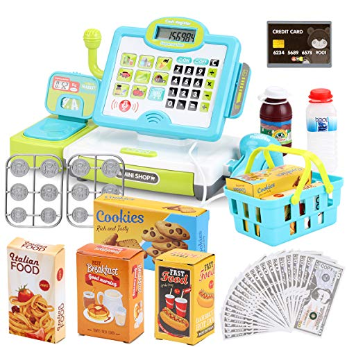 FS Pretend Play Calculator Cash Register Toy as Preschool Gift for Kids, Classic Count Toy with Sound, Microphone, Scanner, Pretend Credit Card, Play Food for Boys & Girls,45 Pieces, Ages 3 4 5 6 7