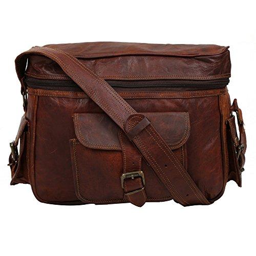 Vintage & Rustic Look Genuine Leather Dark Brown Zip Closure Soft Cushion DSLR SLR Camera Messenger Bag