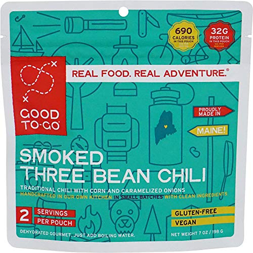 GOOD TO-GO Smoked Three Bean Chili - Double Serving   Dehydrated Backpacking and Camping Food   Lightweight   Easy to Prepare