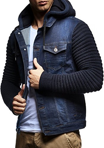 Leif Nelson LN5240 Men's Casual Denim Jacket with Knitted Sleeves; Size XL, Blue