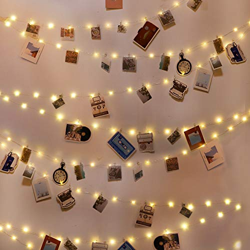 60 LED Photo Clip String Lights Fairy String Lights with 60 Clear Clips and 20 Non-Trace Nail for Hanging Card, Polaroid, Picture for Bedroom Dorm Wall Wedding Birthday Party Decoration