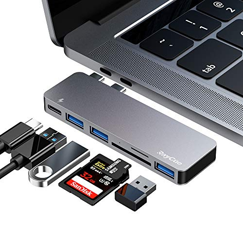 USB C Hub, 6 in 1 Aluminum USB C Adapter for MacBook Pro 2020 Accessories with 3 USB 3.0 Ports, TF/SD Card Reader, USB-C Power Delivery for MacBook Pro 13″ and 15″ 2016-2019, MacBook Air 2018 2019